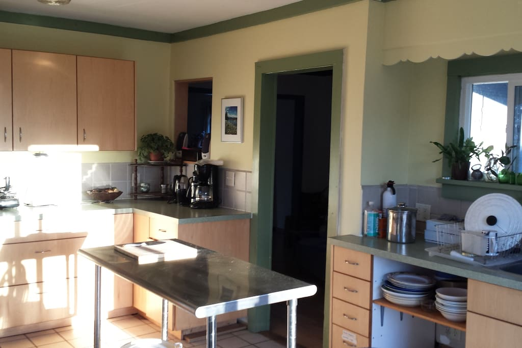 Kitchen has lots of counter space and natural light