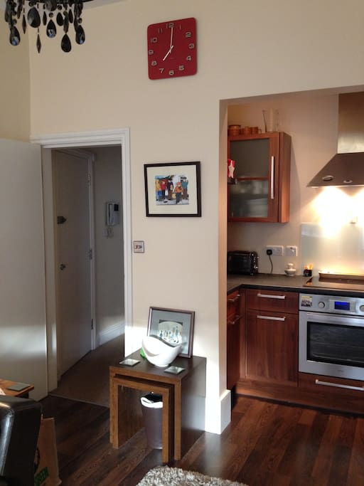 compact kitchen including electric hob/fan oven/microwave/dishwasher and fridge