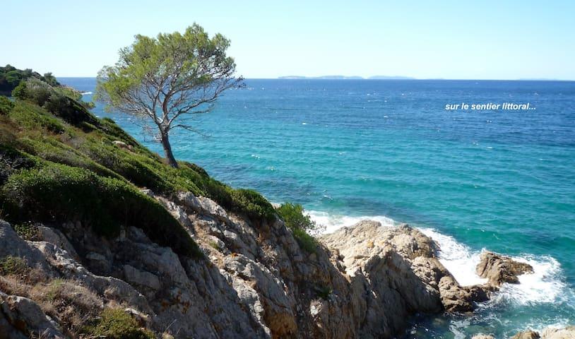 petit mas provençal,  plage de Gigaro, vue mer
