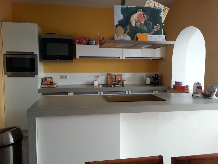 Kitchen with oven, microwave oven, steam oven, nespresso