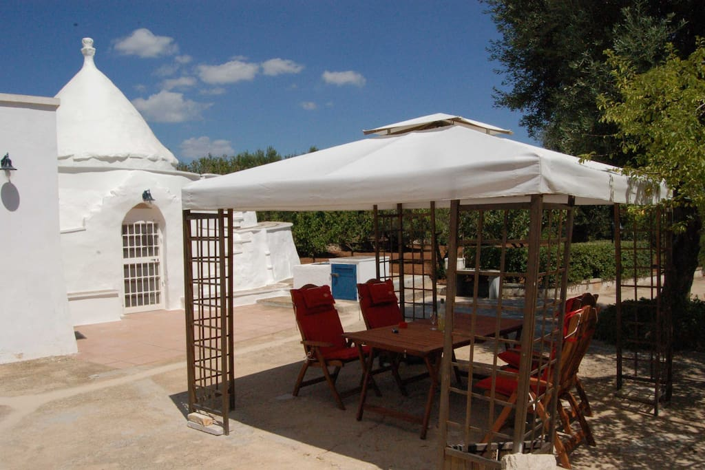 Trullo, terrace and gazebo for alfresco dining