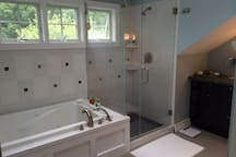 Master Bathroom Shower and Tub view. (On 2nd Floor)