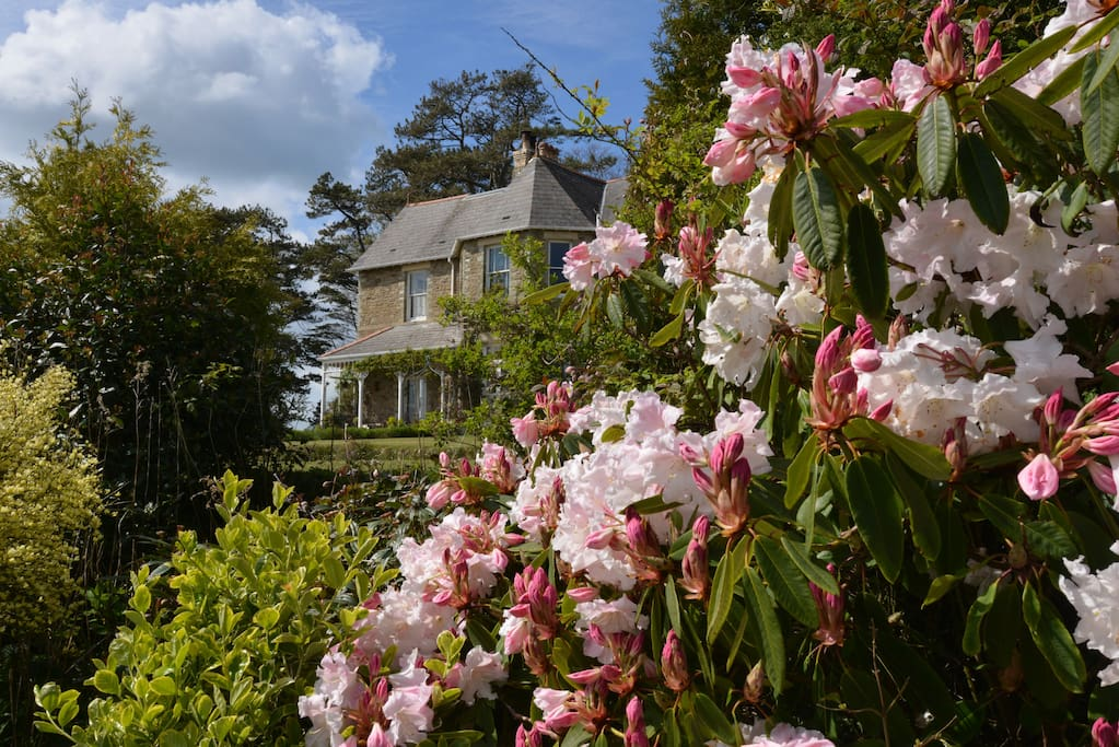The view of the house from the garden in Spring.