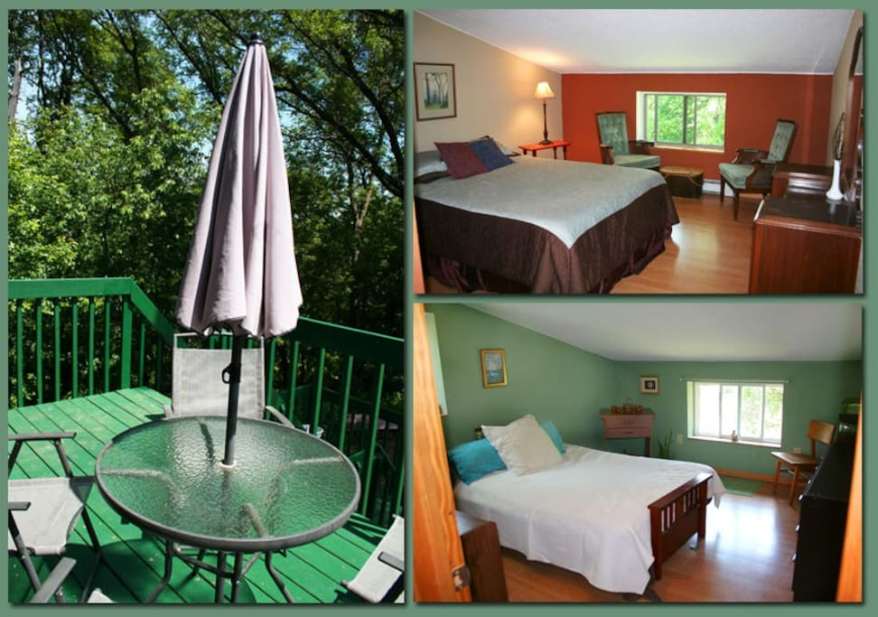 The private two bedroom apartment overlooks the Buffalo River and our organic gardens.