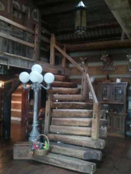 Hand Hewn Chestnut Log Staircase