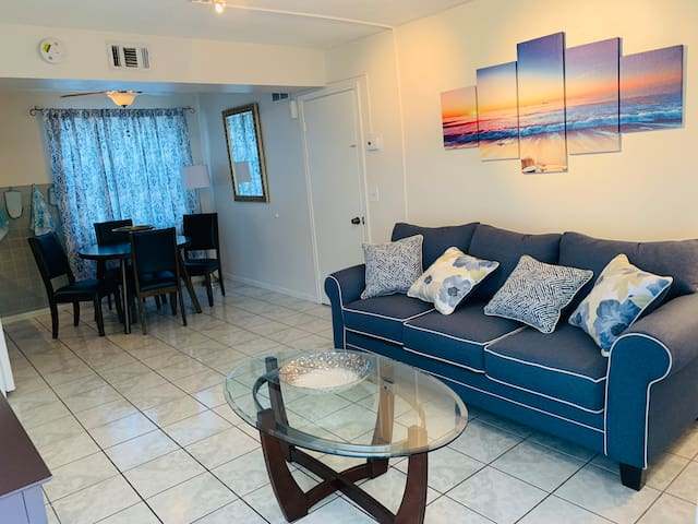 Cozy two bedroom, feet from the beach