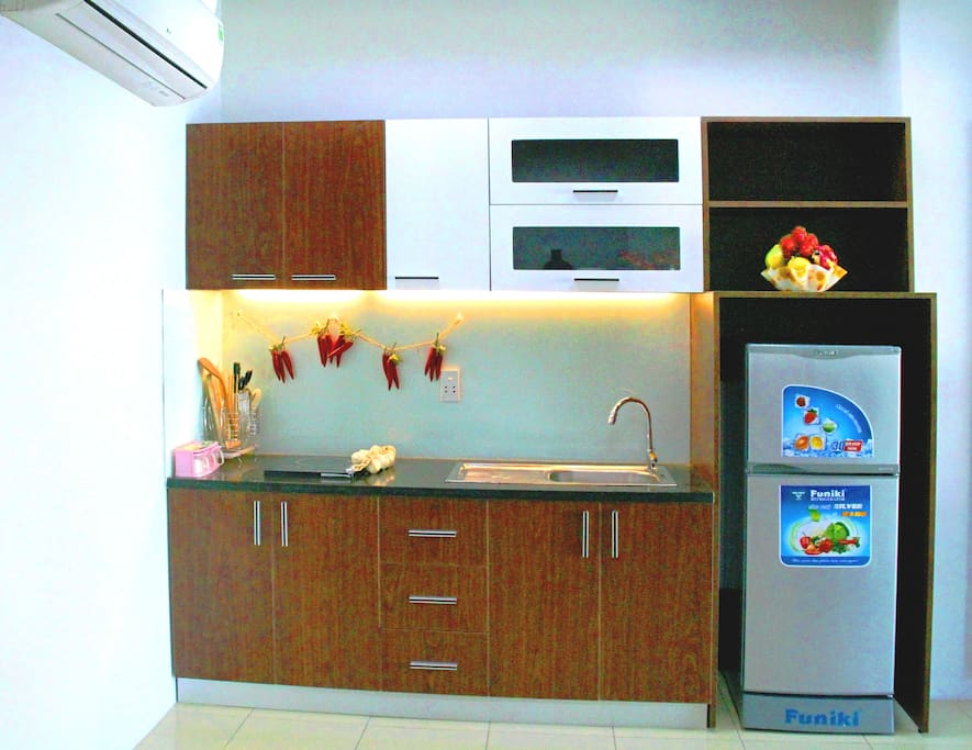 availble kitchen with full cooking equipments and frigde 160l