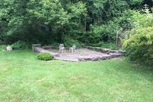 Stone patio by the pond.