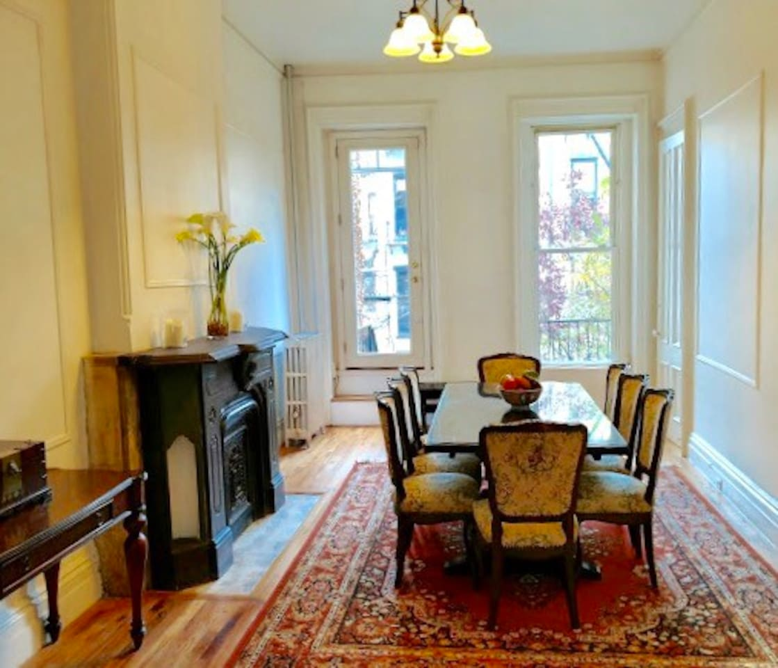 Spacious dining room with expandable table to seat 12.