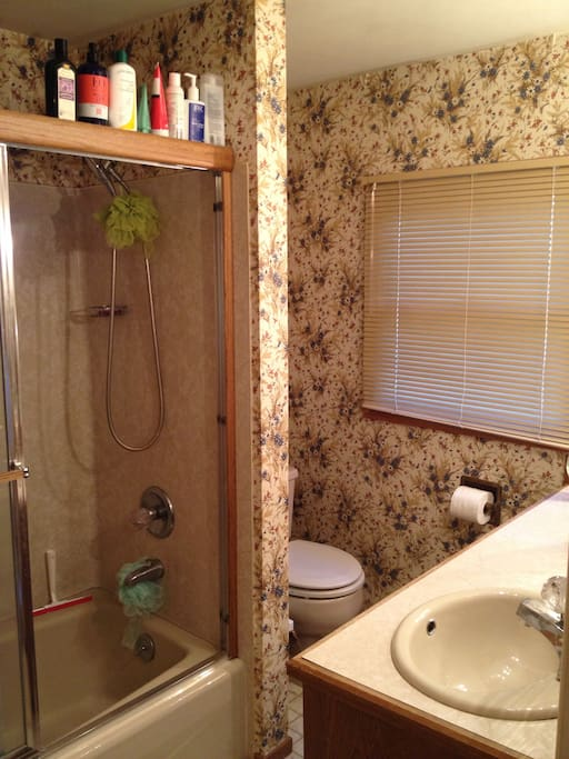 Take a trip back to the 80s when using the master bedroom on-suite bathroom!