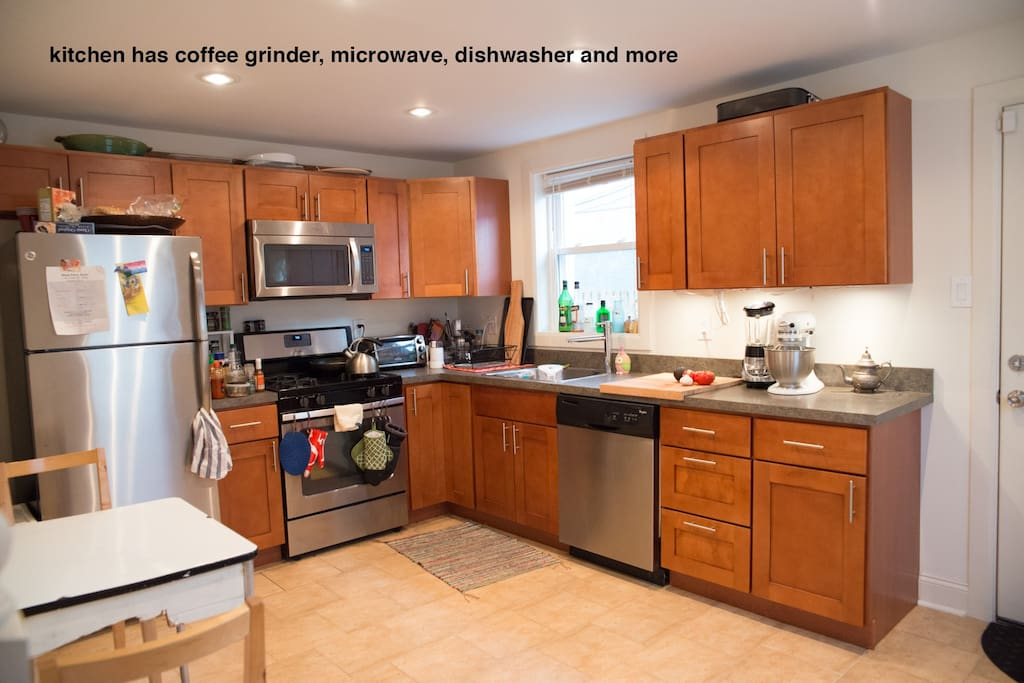 The kitchen is newly renovated with a dishwasher, microwave, blender, coffee grinder and is fully stocked to make a feast.