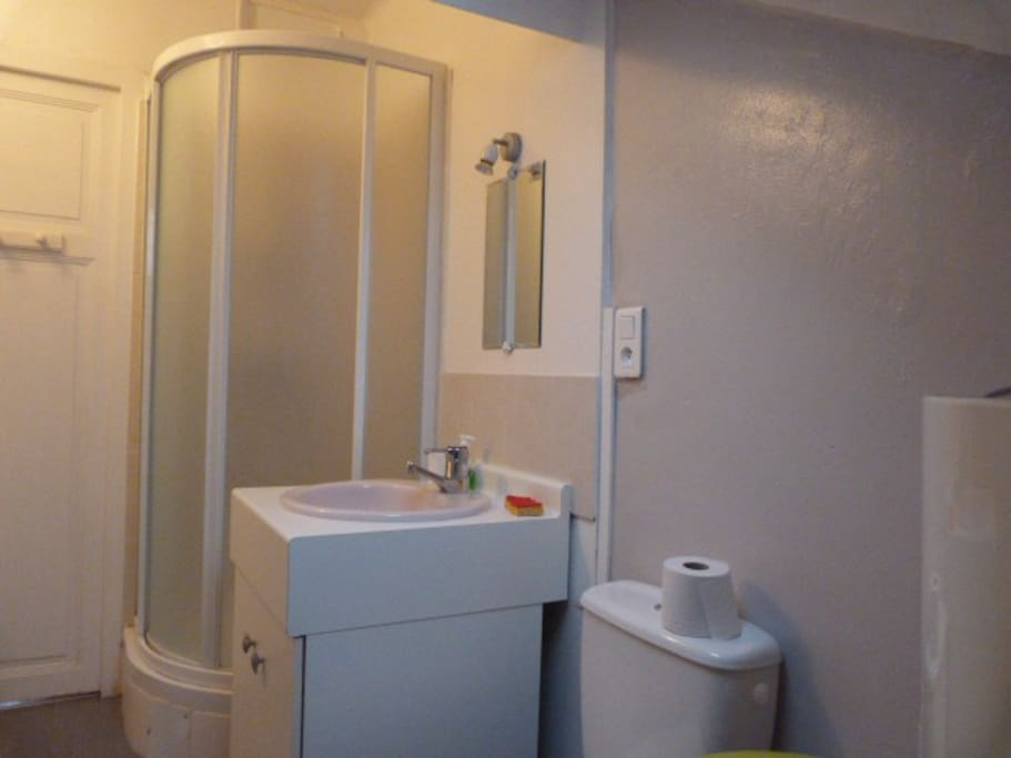 salle d'eau confortable et bien éclairée