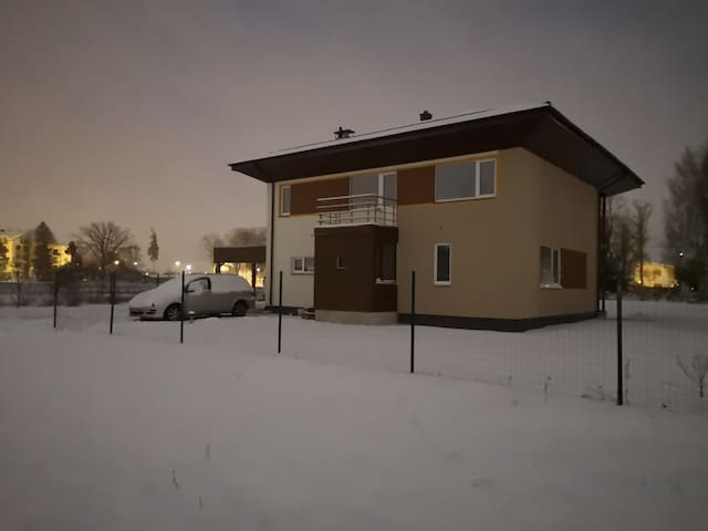 Front of the house in a winter