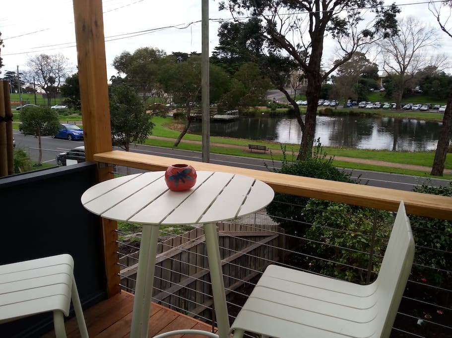 Outdoor entertaining with fabulous view of the lake and bay