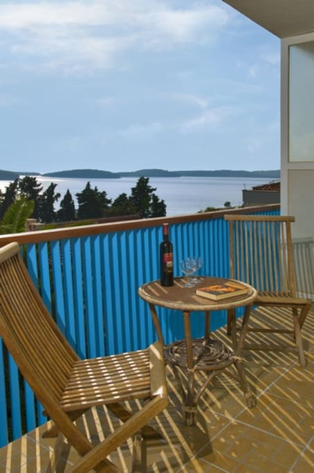 Apartment PHARIA, Hvar town, Hvar island, balcony, sea view