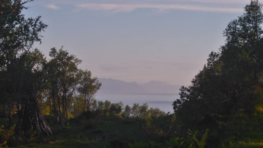 Utsikt mot havet også med Lofotfjellene i bakgrunn