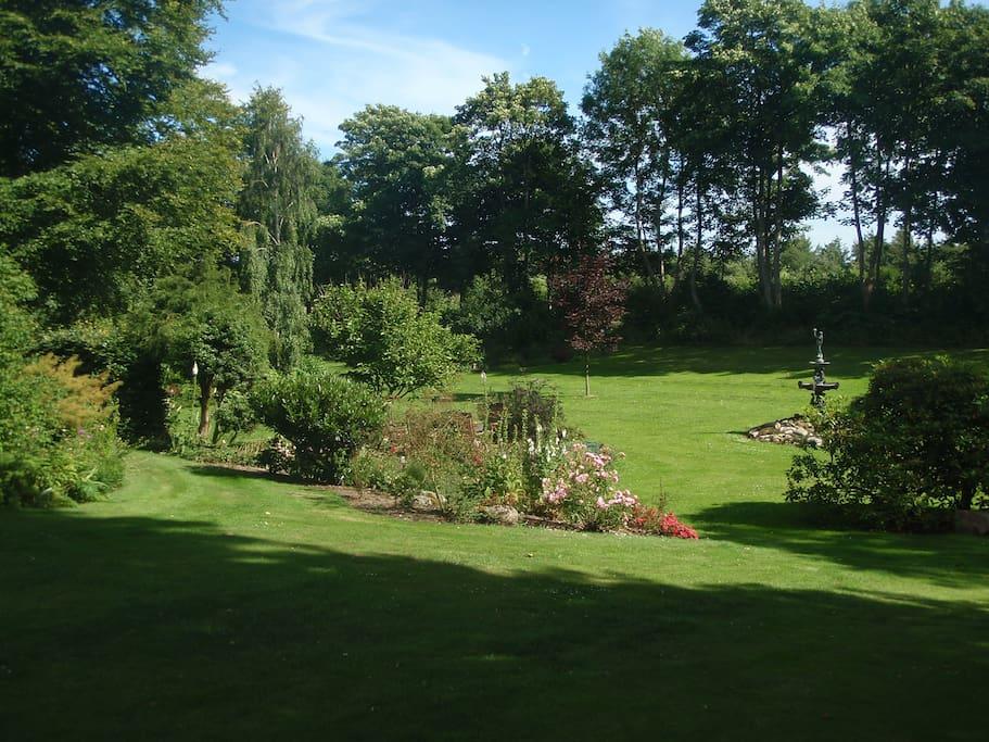 Dejlig stor have med mange hyggekroge, nyttehave, søer og natur omkring, til fri afbenyttelse.
