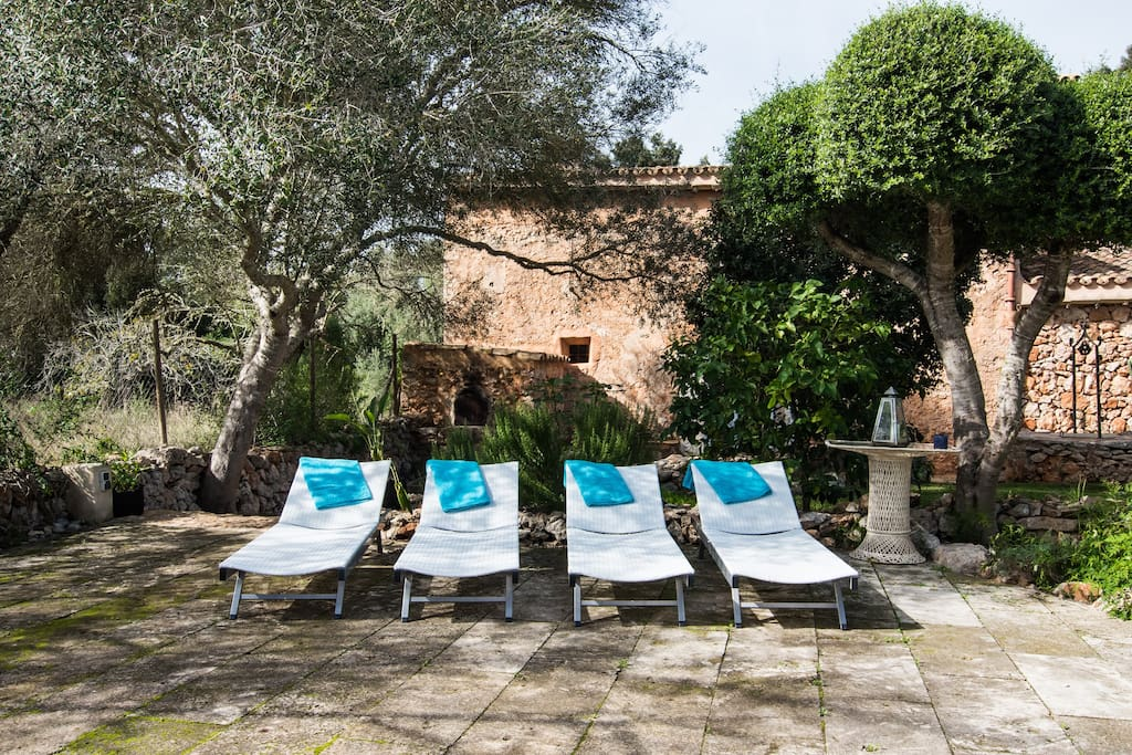 Relax on the sun loungers by the pool