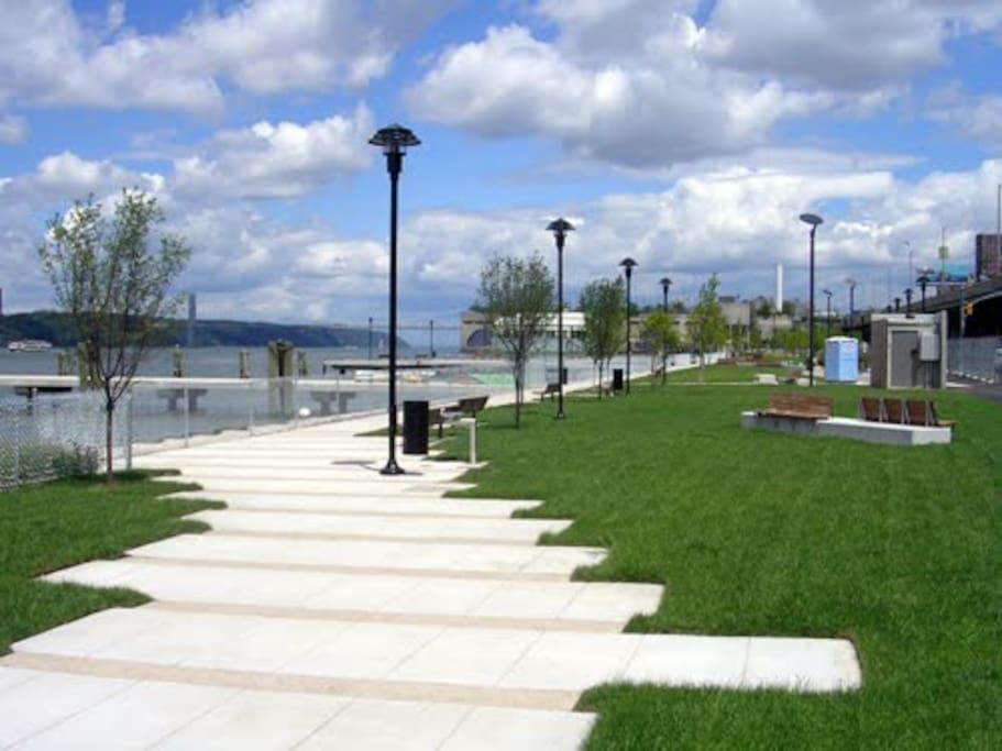 Take a stroll down the riverfront walkways