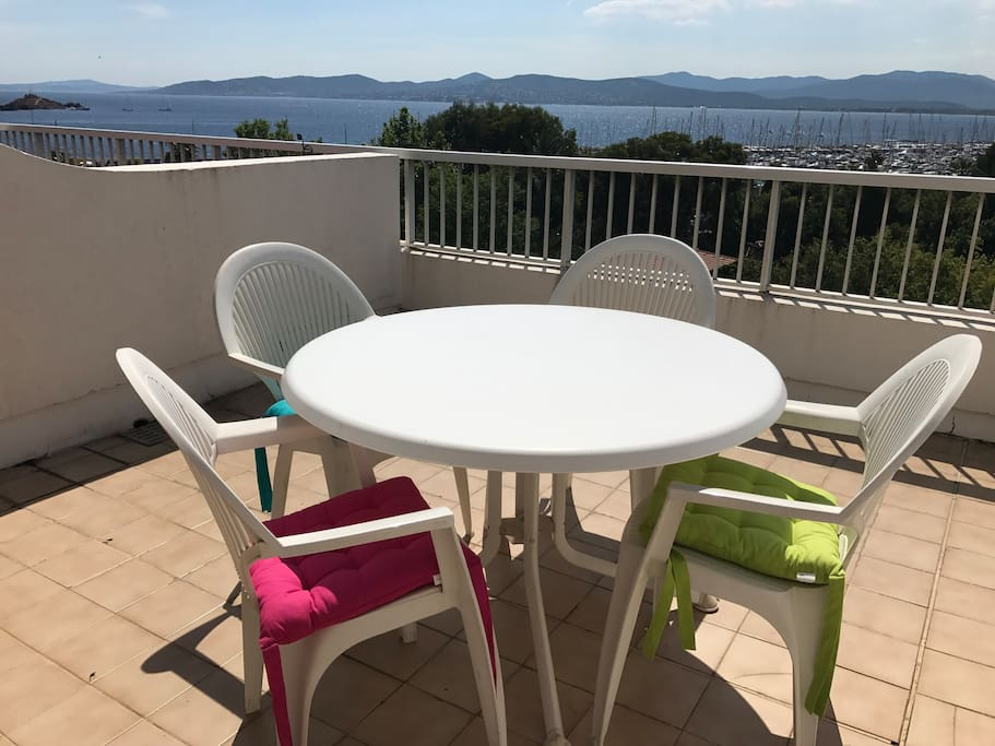 West facing terrace with views across the bay to St Tropez.
