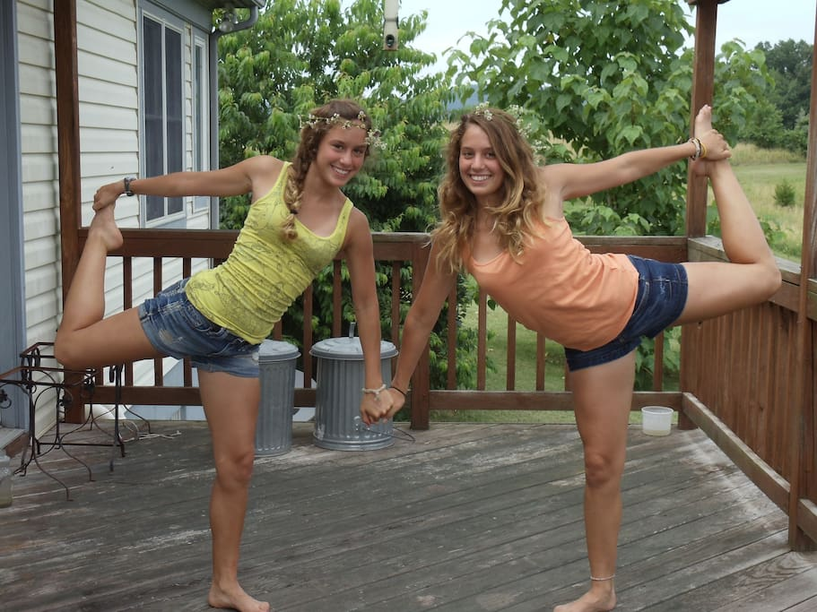 Identical twin granddaughters enjoy the deck.