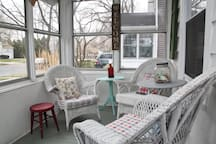 White wicker on front porch