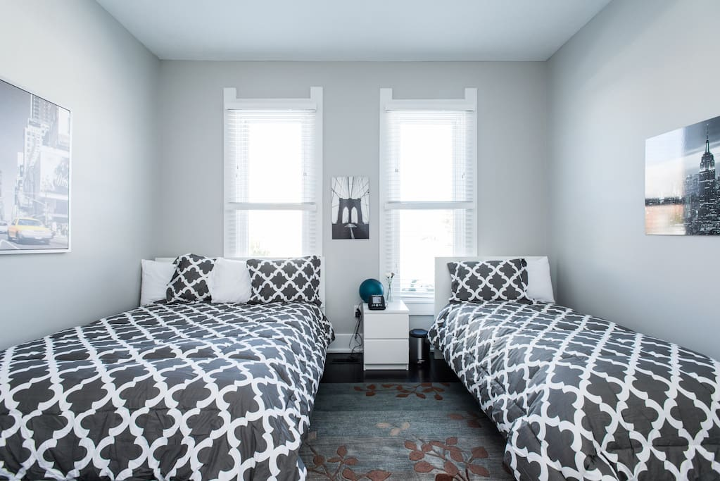 The master bedroom has a queen bed along with a single bed.