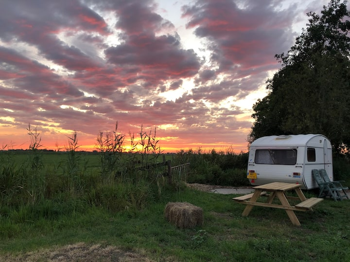 Oldtimer caravan op eco camping bij Sneek