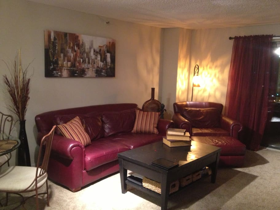 Living room is spacious with large walkout balcony overlooking the river.