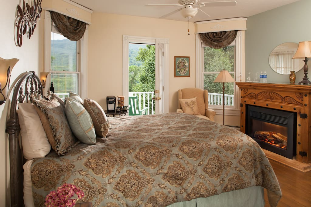 Comfy queen sized bed and private porch