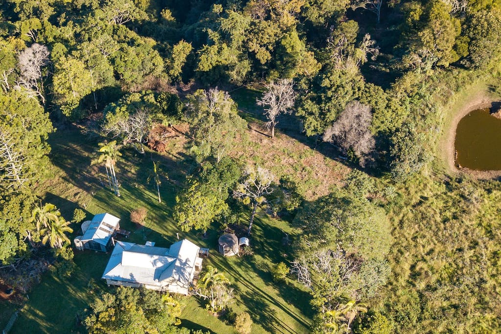 Aerial shot of the property