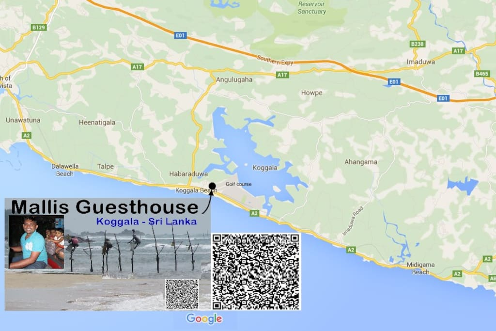 Mallis Guesthouse Map position only 5 minutes walking distance to the beach Habaraduwa