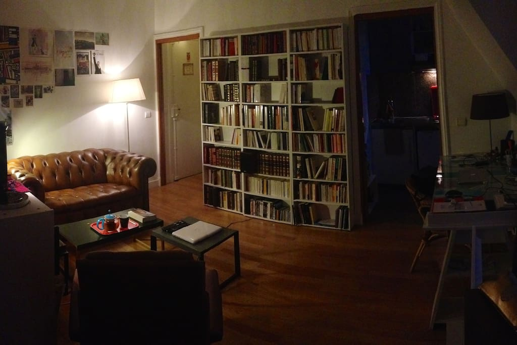 Living room & library (at night)