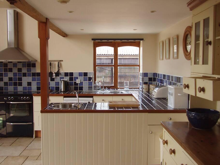 Full farmhouse-style kitchen