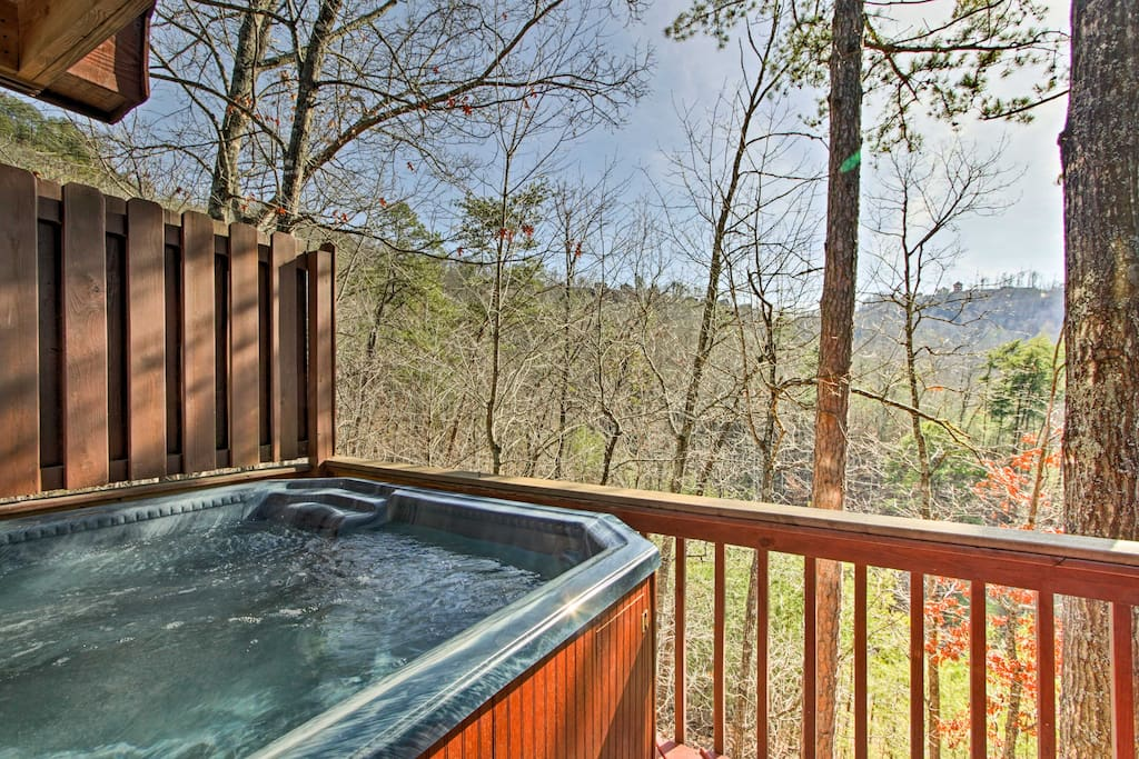 Spend some time soaking in the private hot tub or simply enjoy the views!