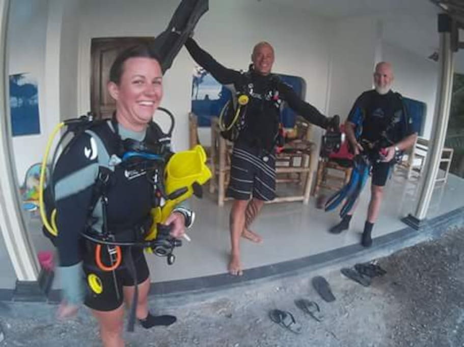 Divers ready to go for a shore dive
