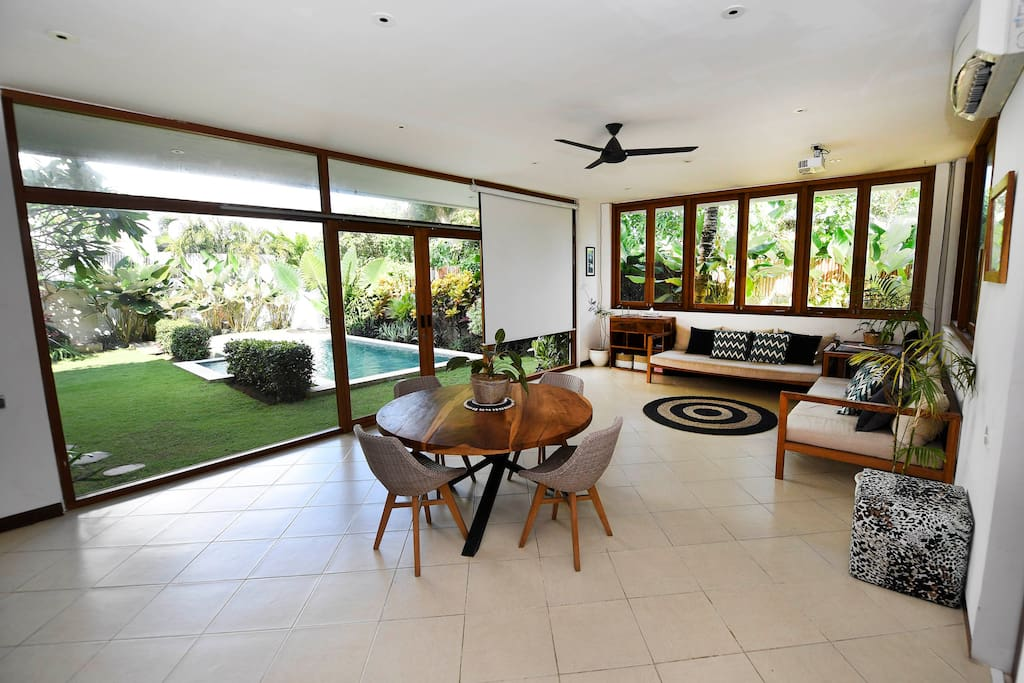 Living Area with beautiful tropical views of the garden
