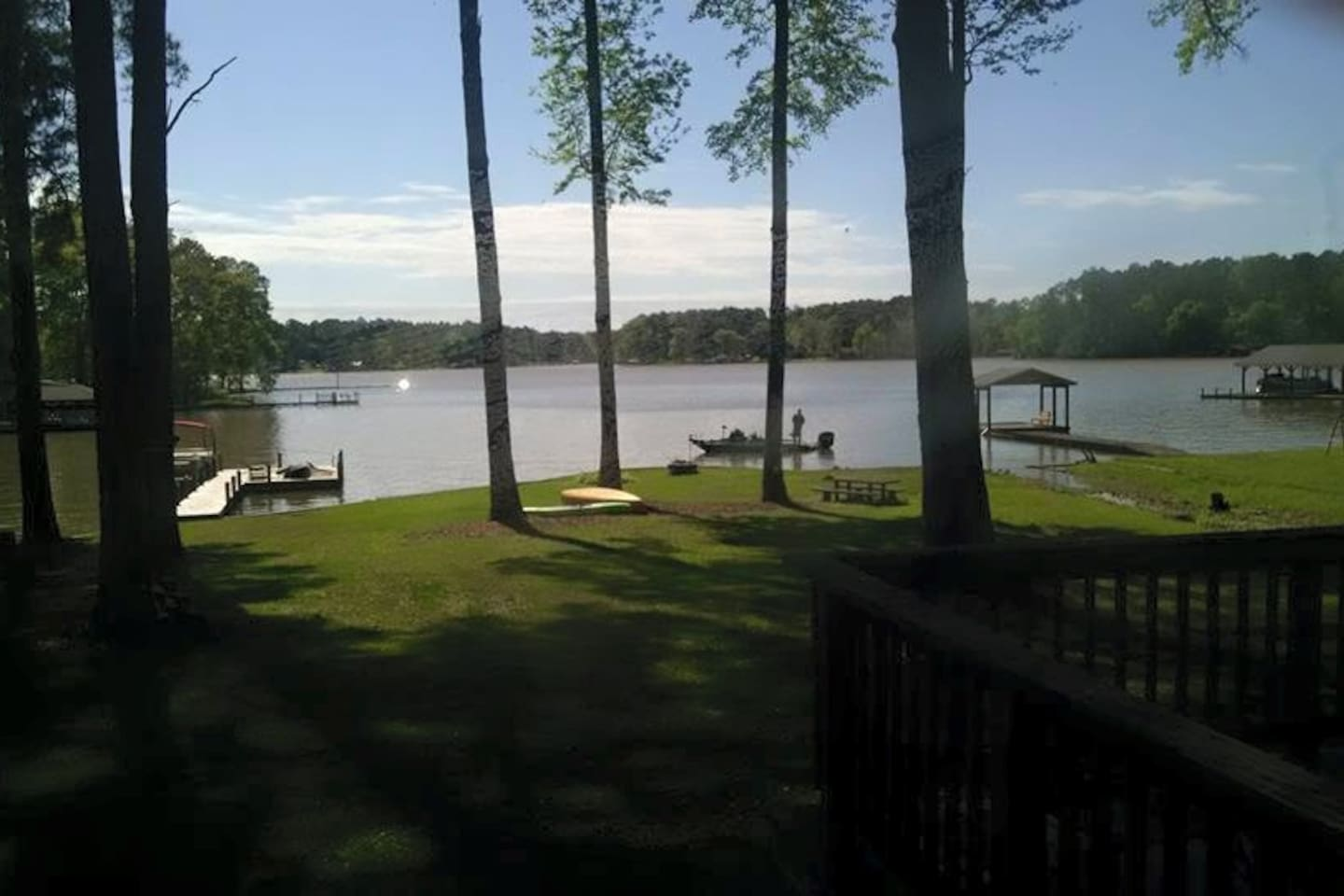 Enjoy beautiful views of the lake from the Bungalow or the large deck.
