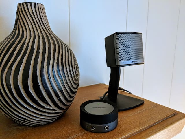 Bose Speakers connected to Chromecast Audio to stream music from your smart phone or tablet apps.