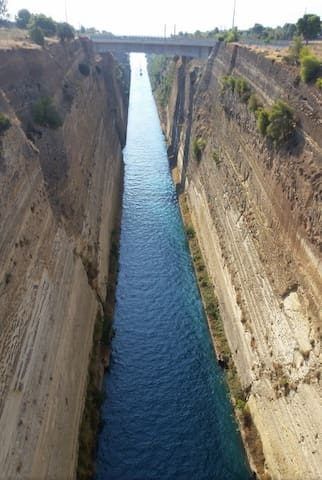The famous Canal of Corinth only 2km from your apartment
