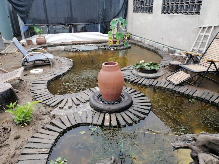 52℃空间之.小雅,有多名外国客人可练英语/壁炉/独立卫浴/室内泳池/鱼塘花园/乐器箭缝纫/温暖的心