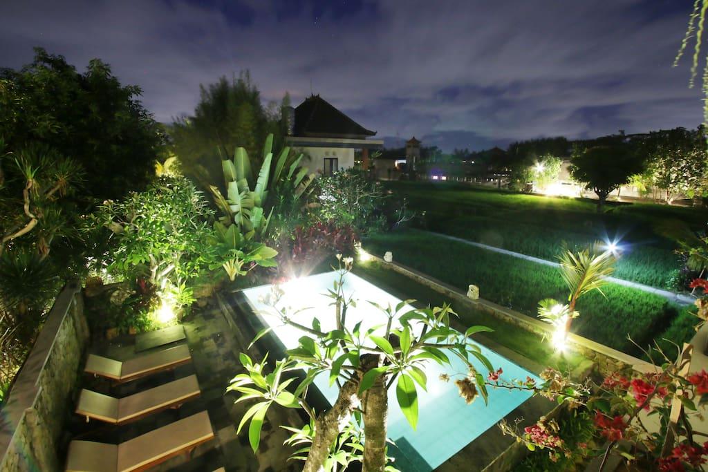 swimiming pool in the night