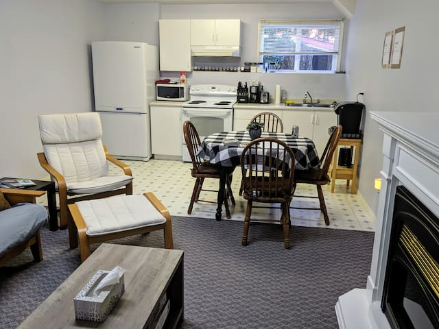 Roomy basement suite with full kitchen.