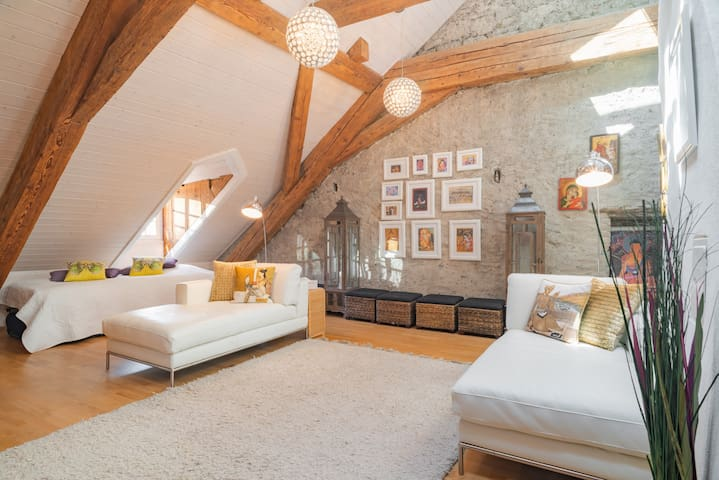 Stunning loft room with ensuite for four people.