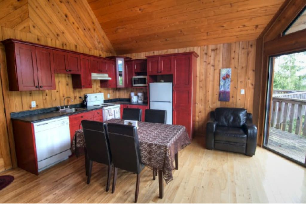 The chalets are made with local wood and boast rustic charm