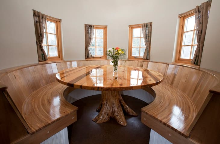 Booth style dining area in silo