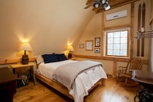 Sunset bedroom with Select Comfort mattress and organic linens