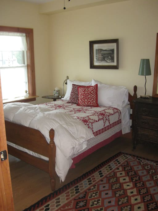 Double bed in the Bunkhouse bedroom