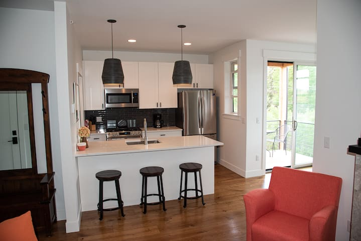 The large kitchen.  The kitchen has everything you need to create a gourmet meal or just grab a quick snack.  Enjoy a nice romantic dinner on the patio, weather providing.
