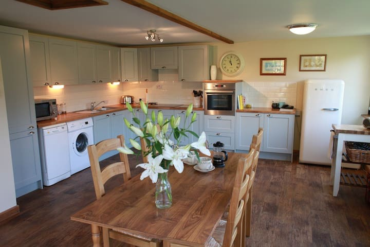Spacious Farrow & Ball painted kitchen